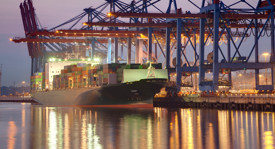Cargo and truck at harbour